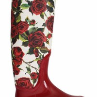 NWT DOLCE & GABBANA Boots Shoes Womens Red Roses Rubber Rain Knee EU38 / US7.5