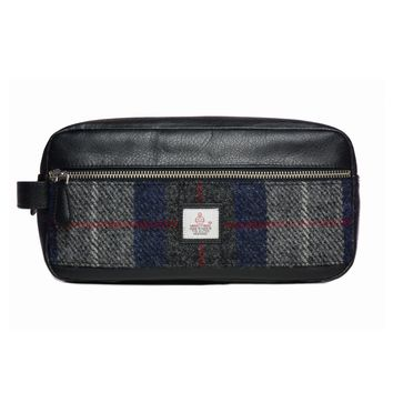 Harris Tweed - Dopp Kit - Toiletry Bag - Plaid Navy & Gray