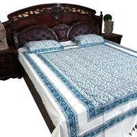 Indian Tapestry Bedding 3pc Asian Queen Cotton Bed Cover Kalamkari Floral Blue