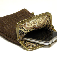 IPhone Case / Fabric Cigarette Case - Woven Brown fabric - Antique Bronze Frame