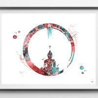 Enso Zen Circle watercolor print Buddhist Symbol poster spiritual art yoga meditation print Enso cicle of Enlightenment buddha wall decor