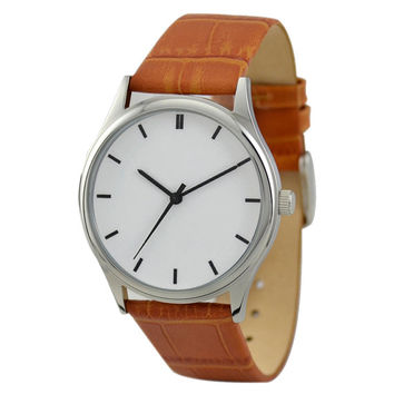 Minimalist  Watch (Silver/black) Light Brown Band