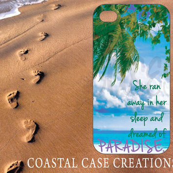 Apple iPhone 4 4G 4S 5G Hard Plastic Cell Phone Case Cover Original Trendy Stylish Palm Trees Paradise Beach Quote Design