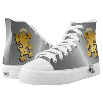 Golden Gradient Embossed Heraldic Lion With Shadow Printed Shoes