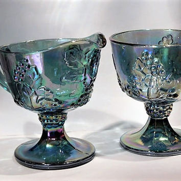 Indiana Harvest Blue Iridescent Carnival Glass Grape and Leaf Sugar and Creamer Set 1960s 60s Mid Century Vintage Country Cottage Home Decor