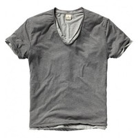 Short Sleeve Double Layer Striped V-neck