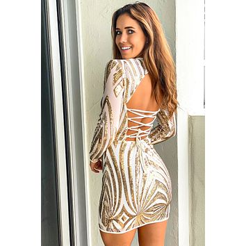 Ivory and Gold Strappy Back Short Dress with Sequins
