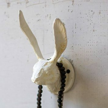 Cast Iron Rabbit Wall Hook ~ Antique White