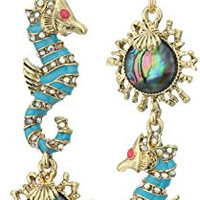 Betsey Johnson The Sea and Faceted Stone Mismatch Double-Drop Earrings