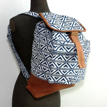Geometric Triangle Backpack, Handmade Canvas Drawstring Backpack, Teen school backpack, Aztec backpack, Hipster Boho backpack, Mens Rucksack