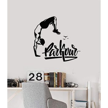 Vinyl Wall Decal Parkour Lettering Athlete Teenage Room Decoration Stickers Mural (ig5526)