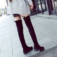 Winter Flats Oxford Women's Shoes Heels PU Over The Knee Boots Woman Famale Slip On Rubber Sole Fashion Casual Round Toe HY-7958