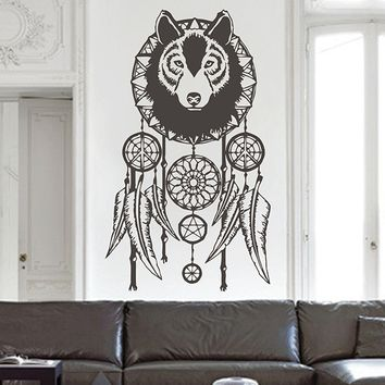 ik2897 Wall Decal Sticker Wolf Dreamcatcher feathers hall bedroom