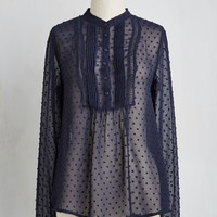 Fairytale Mid-length Long Sleeve Intern on a Dime Top in Navy
