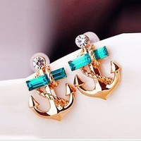 Fashion Elehant Rhinestone Anchor Stud Earrings