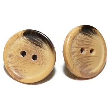 Cute as a Button Vintage Tan and Brown Button Earrings by chumaka