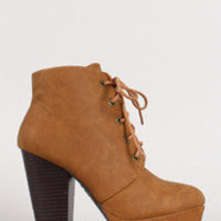 Women's Round Toe Lace Up Bootie