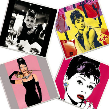 Audrey Hepburn Coasters, audrey hepburn home decor,audrey hepburn photo, pink apartment coasters, pink photo coasters, Breakfast at tiffanys