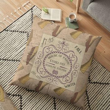 'Vintage French Antique Shoe Advertising' Floor Pillow by sunnthreads
