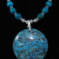 Blue Leopard Skin Jasper Pendant Necklace with Sterling Silver