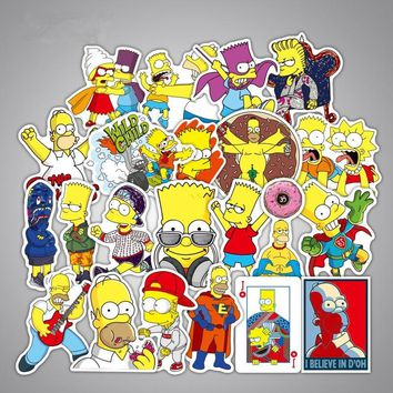 50pcs/Lot Simpson Funny Sticker For Car Laptop Luggage Skateboard Snowboard Pad Phone Decal Toy Stickers T180729