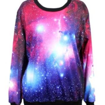 Pandolah Neon Galaxy Cosmic Colorful Patterns Print Sweatshirt Sweaters (Free size, Multi color)