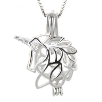 925 Sterling Silver Unicorn Shaped Pearl Cage Pendant