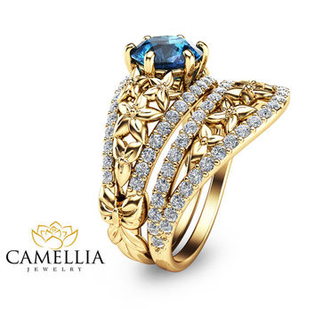 Topaz Engagement Rings Set Blue Topaz Bridal Set 14K Yellow Gold Gemstone Engagement Ring Anniversary Ring