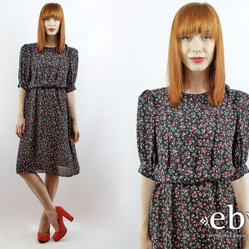 Vintage 80s Floral Secretary Dress M L Floral Dress Day Dress Work Dress L Dress M Dress Black Floral Dress Black Dress Summer Dress