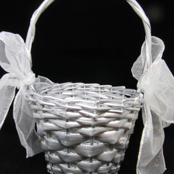 Vintage Round Silver Woven Flower Girl Basket-Weave on Handle-White Bows-Crystal Flower Accents-Wedding-Gift-Storage-Home Decor-Cottage Chic