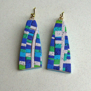 The Wall Art Earrings in 3D Aqua, Purple and Green Polymer Clay