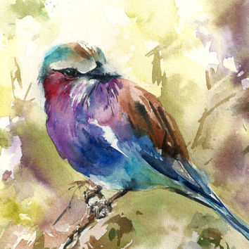 Bird Watercolor Painting Art Print - Bird Watercolor - Lilac Bird - Bird Art - Watercolor Painting - Bird Illustration
