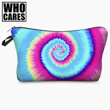 Tie Dye Petrol Rainbow 3D Print Cosmetic Bag Brands Women Makeup Organizer Toiletry with Zipper Neceser Trousse Maquillage Femme