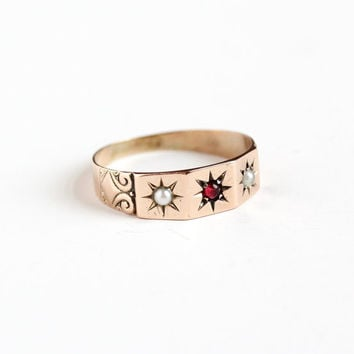 Antique 9k Rose Gold Simulated Garnet and Pearl Ring - Victorian Edwardian Size 11.5 Star Etched Men's Cigar Wedding Band Fine Jewelry