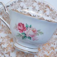 Royal Albert Vintage Fine Bone China Tea Cup and Saucer Floral Gold Chintz Pink White Roses Heavy Gilt