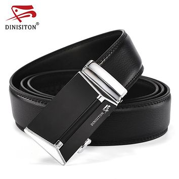 Automatic Buckle Belt For Men High Quality Genuine Luxury Leather Men's Belts For Man Black Strap