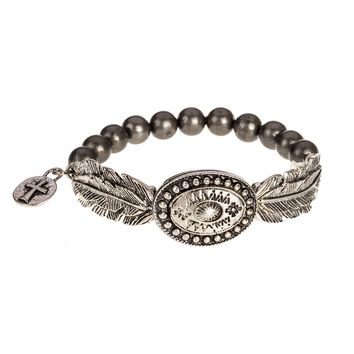 Women's J West Silver Concho Bracelet W/Feather Accents