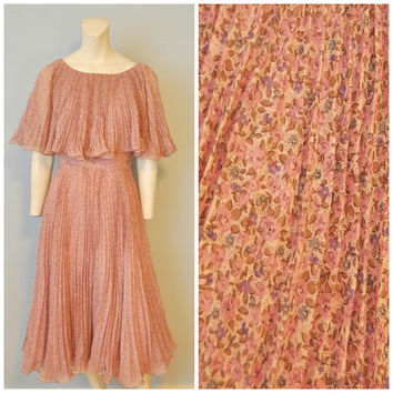 Vintage 1960's Flounce Collar Dress Pleated Ruffle Pink Floral Pattern Flower Print Midcentury Midi Dress Miss Elliette Collectors Corner