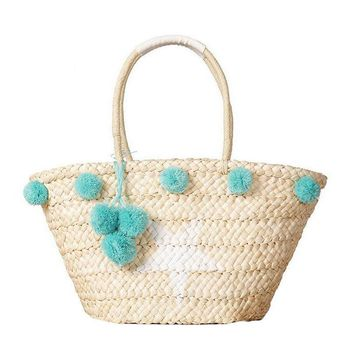 Bohemian Straw Bag Summer Beach Handbag Women Star Shopping Tote Ful Ball Handmade Woven Travel Shoulder Bags Purse Bolsa 131084