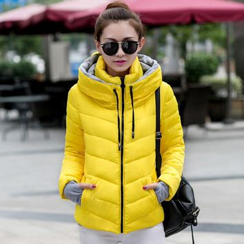 2018 New Warm Winter Women Jacket Quilted Thick Parka Cotton Padded Slim Hoodie Hooded Outerwear Chaquetas Jacket Coat Plus Size