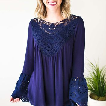 Falling for Lace Bell Sleeve Top - Navy