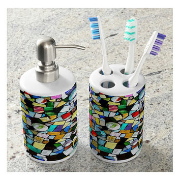 Toothbrush Holder and Soap Dispenser Set, Stained Glass, Mosaic, Mixed Media - Bathroom Accessories Set, Guest Room-Made To Order - TMW1#73