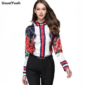 USUALYEAH 2017 Autumn New Blouse Red Flower Chain Printing Long Sleeve Shirts Contrast Color S M L XL XXL