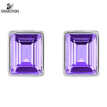 Swarovski Purple Crystal Pierced Earrings EVANESCENT Rhodium #5073018