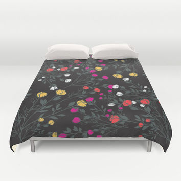 Duvet Cover, Floral bedding, Floral duvet Cover, Rose bedding, black floral, Decorative Bedding Home Interior Decoration