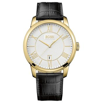 Hugo Boss 1512972 Men's Silver Dial Gold Plated Steel Black Leather Strap Watch