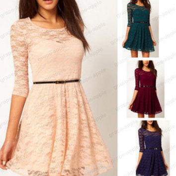 Sexy Spoon Neck 3/4 Sleeve Lace Sakter Dress Belt Include 3817
