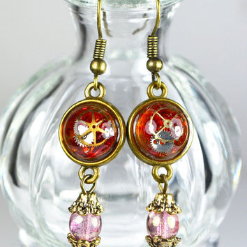 Red Steampunk Inspired Earrings, Watch Parts Earrings, Gears and Ryukyu Glasses in Small Resin Dome, Glass Beads Earrings