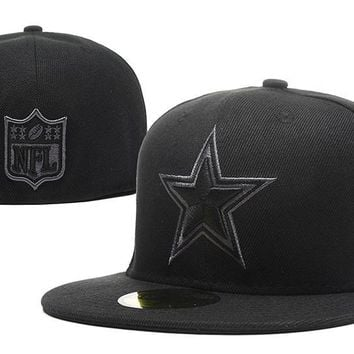 LMFON Dallas Cowboys New Era 59FIFTY NFL Football Cap All-Black