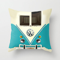 decorative pillow case Blue teal VW Volkswagen graphic design 16, 18 or 20 inch Square Throw pillow case cover